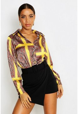 Womens Yellow Satin Scarf Print Shirt