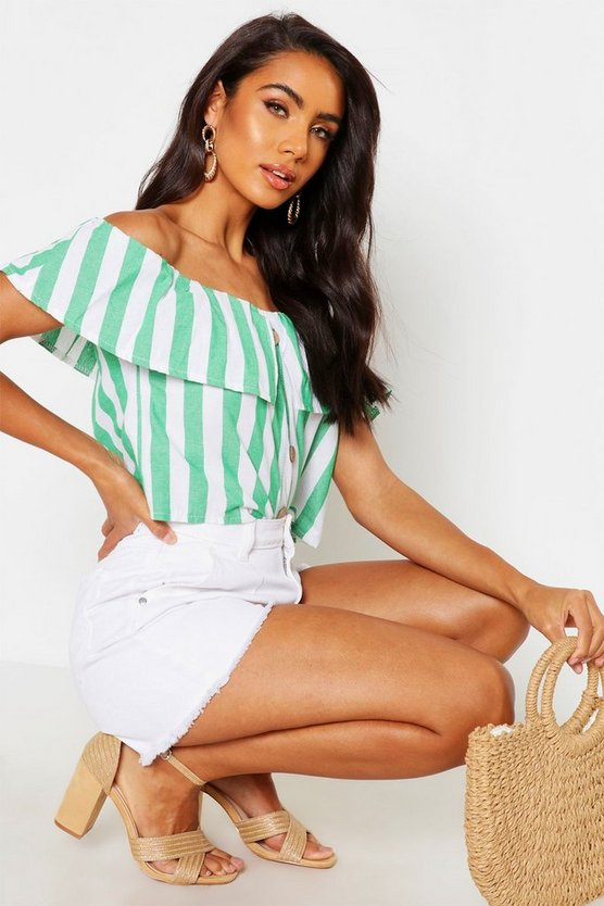 Womens Green Linen Striped Off The Shoulder Top