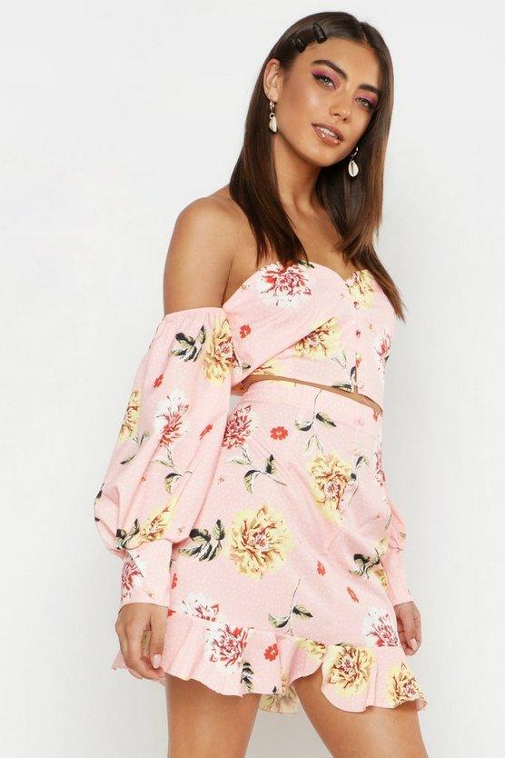 Woven Floral Print Button Through Frill Hem Skirt