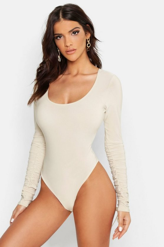 Womens Stone Slinky Scoop Neck Ruched Sleeve Bodysuit