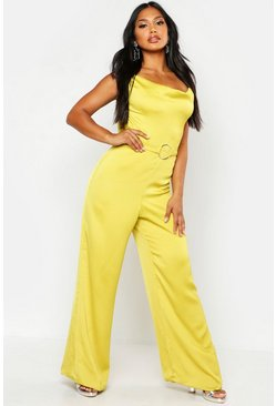 Womens Chartreuse Satin Ring Detail Cowl Front Jumpsuit