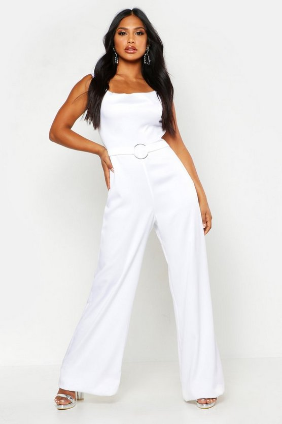 Womens White Satin Ring Detail Cowl Front Jumpsuit