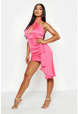 Womens Hot pink Satin Halter Neck Drape Detail Mini Dress