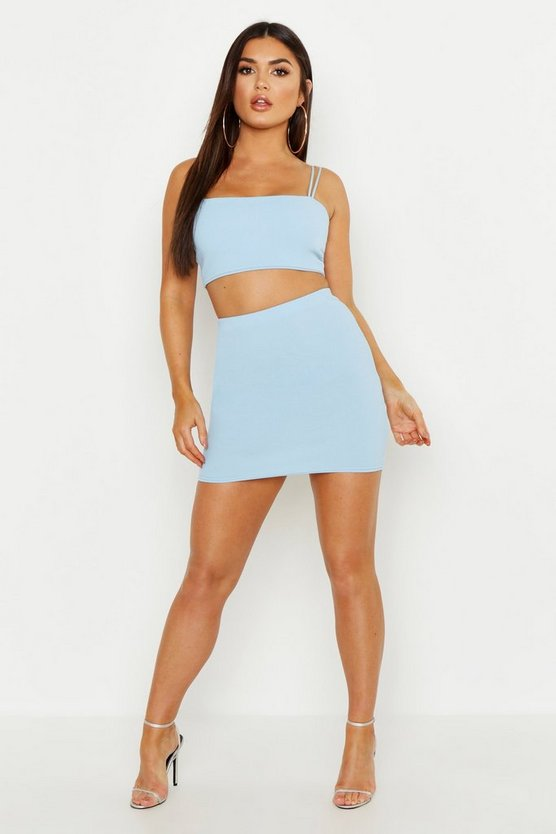 Double Strap Bralet & Mini Skirt Co Ord by Boohoo