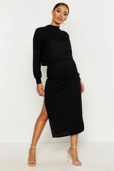 Black High Neck Ribbed Top & Midi Skirt Co-Ord Set