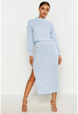 Sky High Neck Heavyweight Ribbed Top & Midi Skirt Co-Ord
