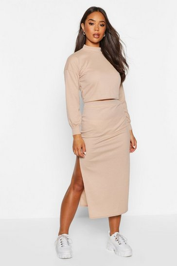 Womens Stone High Neck Heavyweight Ribbed Top & Midi Skirt Co-Ord