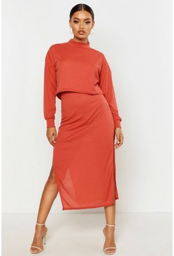 Terracotta High Neck Heavyweight Ribbed Top & Midi Skirt Co-Ord