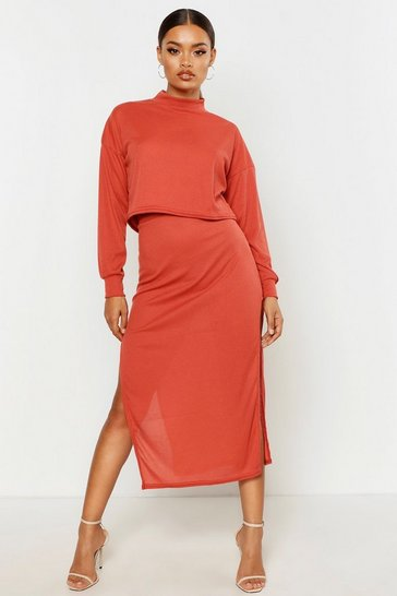 Terracotta High Neck Ribbed Top & Midi Skirt Co-Ord Set