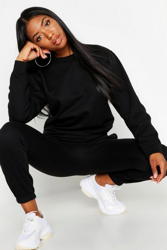 Womens Black Oversized Crew Neck Sweat