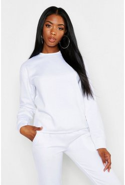 Womens White Oversized Crew Neck Sweat
