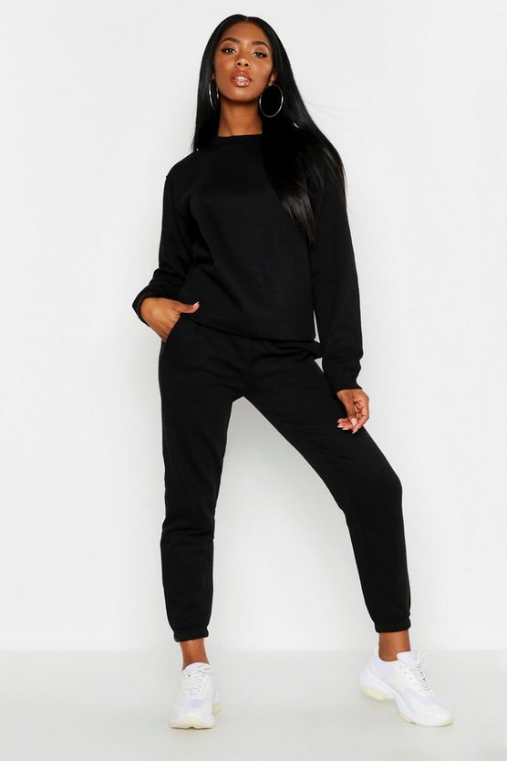 Womens Black Oversized Basic Cuff Bottom Jogger