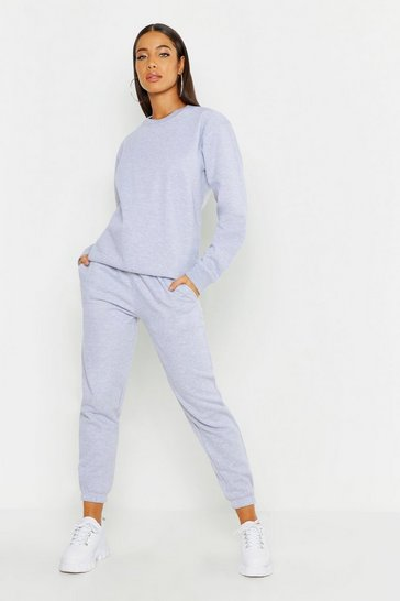 Grey Oversized Basic Cuff Bottom Jogger