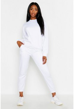 White Oversized Basic Cuff Bottom Jogger