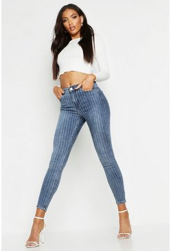 Dark blue All Sizes High Waisted Stripe Skinny Jean