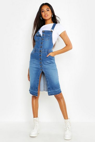Womens Mid blue Button Front Denim Midi Dungaree Dress