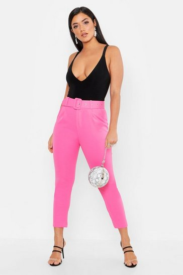 Womens Hot pink Self Belt Tailored Trouser