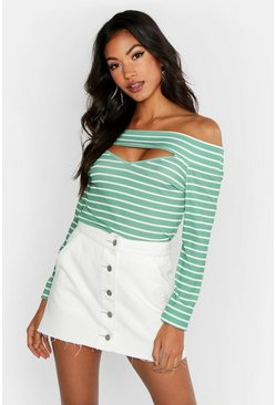Womens Mint Cut Out Detail Bardot Stripe Rib Top