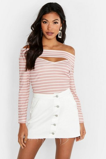 Womens Rose Cut Out Detail Bardot Stripe Rib Top