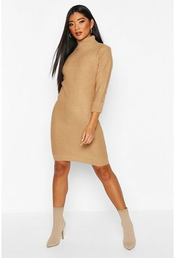 Camel Rib Knit Roll Neck Sweater Dress