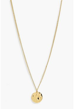 Womens Gold Simple Hammered Coin Necklace