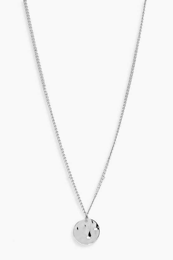 Womens Silver Simple Hammered Coin Necklace