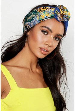 Womens Blue Tile Print Wire Oversized Headscarf