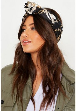Womens Black Chain Print Wire Tie Oversized Headscarf