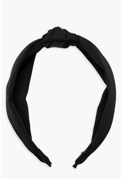 Womens Black Satin Twist Knot Headband