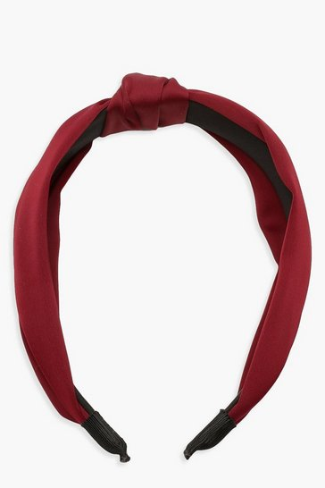 Womens Burgundy Satin Twist Knot Headband