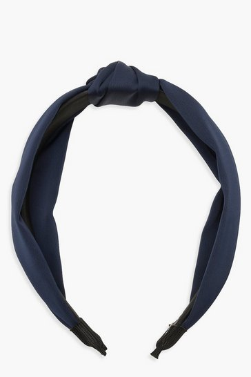 Womens Navy Satin Twist Knot Headband