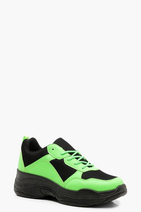 Womens Black Neon Panel Chunky Sneakers