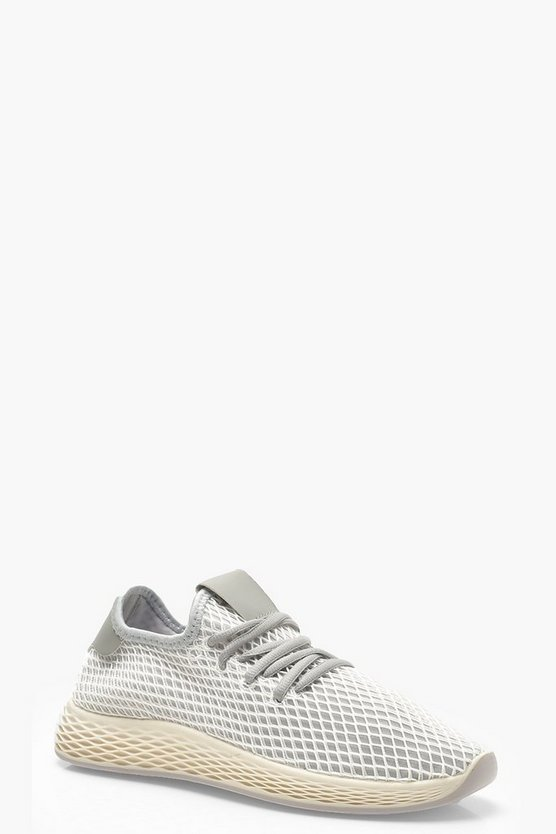 Womens Grey Lace Up Knitted Sports Trainers