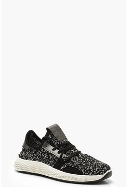 Womens Black Lace Up Knitted Sports Trainers