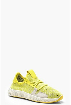 Womens Yellow Neon Lace Up Knitted Sports Trainers