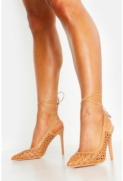 Tan Woven Wrap Pointed Court Shoes