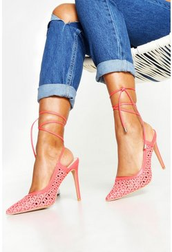 Womens Coral Woven Wrap Pointed Court Shoes