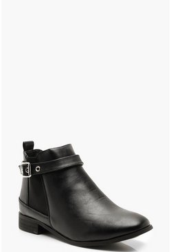 Womens Black Belted Chelsea Boots