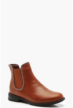 Womens Tan Beaded Trim Chelsea Boots