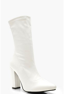 Womens White Block Heel Sock Boots
