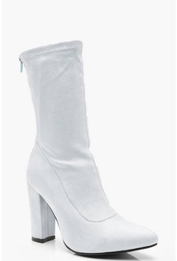 Womens Light blue Block Heel Sock Boots