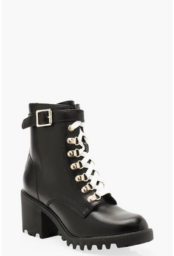 Womens Black Block Heel Contrast Lace Hiker Boots