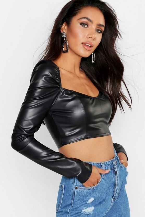Womens Black Sweet Heart Neck PU Crop Top