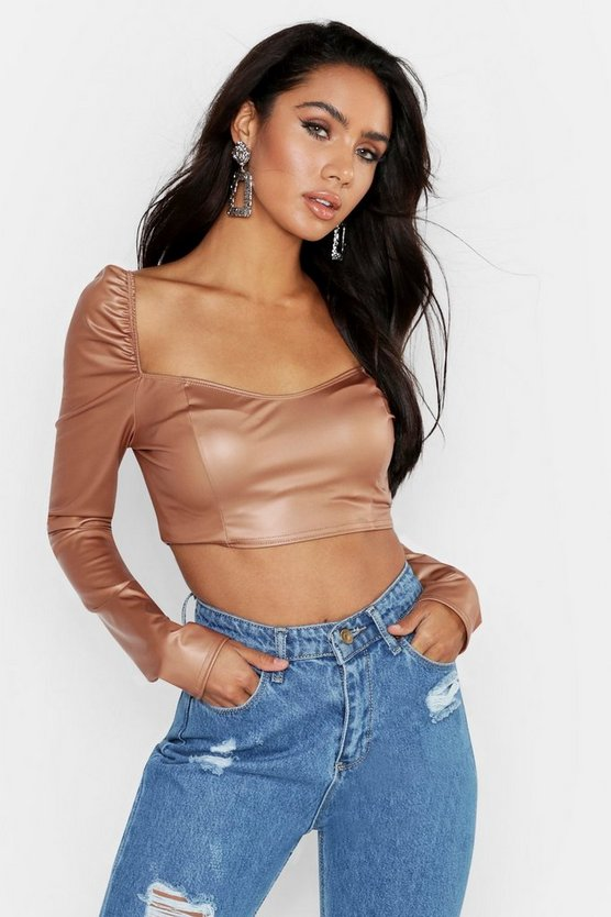 Womens Camel Sweet Heart Neck PU Crop Top