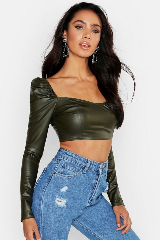 Womens Khaki Sweet Heart Neck PU Crop Top