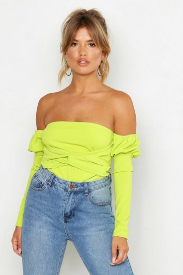 Lime Off The Shoulder Puff Sleeve Top