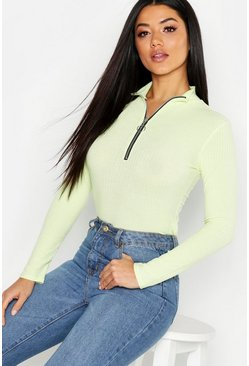 Womens Lime Washed Pastel Ribbed Zip Detail Top