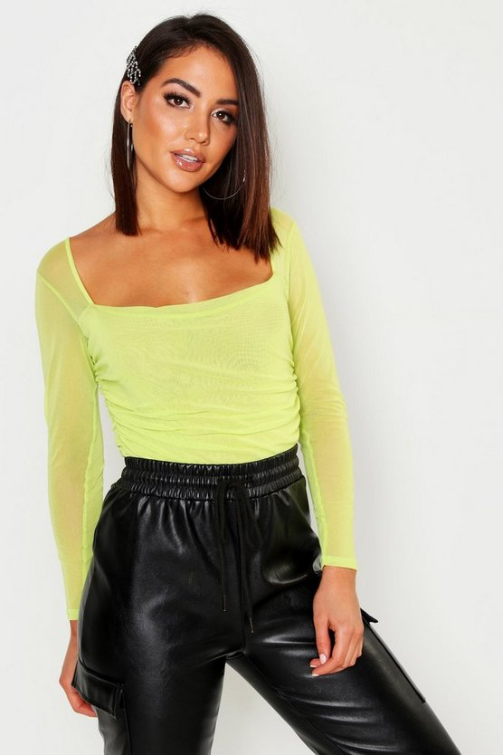 Womens Lime Square Neck Ruched Mesh Bodysuit