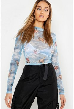 Womens Sky Cherub Print Mesh Crop Top