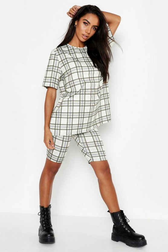 Womens Beige Check Oversized T-Shirt